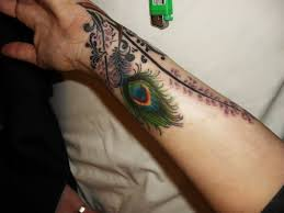 awesome peacock feather tattoo on forearm