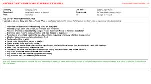 Assembly Line Worker Job Description Resume by Dairy Farm Manager Cv Work Experience Samples