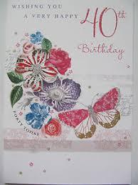 pretty glitter coated flowers u0026 butterfly happy 40th birthday