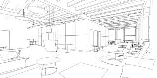 outline sketch of a interior office space royalty free cliparts