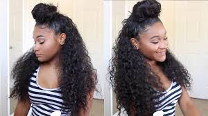 partial sew in hairstyles for synthetic hair half up half down bun tutorial slay your half wig youtube
