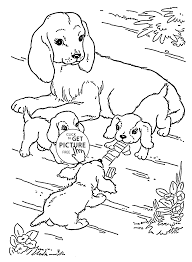 mother dog and puppies coloring page for kids animal coloring