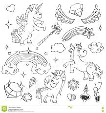 magic unicorn rainbow fairy wings stars and crystals in outline
