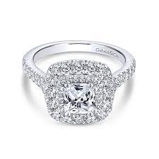 cushion ring gardenia 14k white gold cushion cut halo engagement ring
