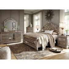birlanny silver upholstered panel bedroom set from