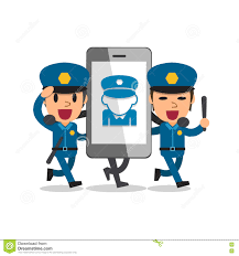 cartoon policemen holding welcome sign cartoon vector
