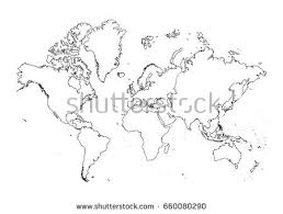 world map outline graphic freehand drawing stock vector 724199989
