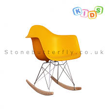 childrens charles ray eames style rar rocking chair yellow