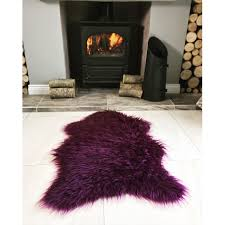 Imitation Sheepskin Rugs Purple Soft Shaggy Faux Sheepskin Rug Kukoon