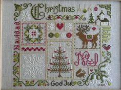 merry christmas cross stitch sampler pdf chart 5 00 etsy