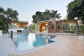 Pool House 42mm Architecture U0027s Sculptural Pool House In India Is Wrapped In A