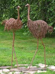emu set of 2 metal garden sculptures metal