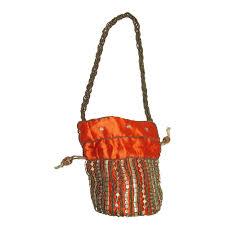 orange silk beadwork purse