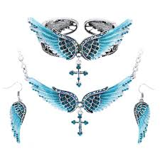 jewelry wings necklace images Antique silver plated quot angel wings quot jewelry set blown biker jpg