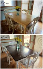 dining table makeover before and after dark top with light white