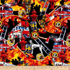 firefighter collage black from fabricdotcom designed by michael
