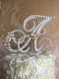 pearl cake topper monogram pearl cake topper custom c cake topper bling pearl cake
