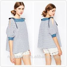 summer boat neckline contrast yoke and cuffs flat knit stripe