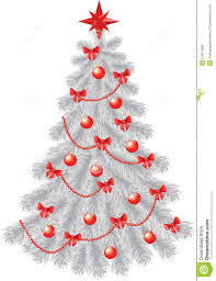 white christmas tree with red decoration stock images image