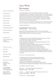 project manager cv template bar manager cv resumess magisk co