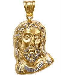 jesus cross gold necklace images Men 39 s christ head pendant in 14k yellow and white gold necklaces tif