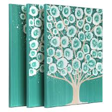 Bedroom Wall Canvases Teal Bedroom Wall Art Painting Of Tree Triptych Canvas Large