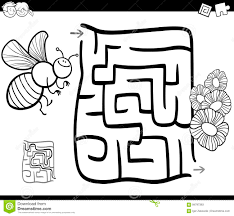 maze with bee coloring page stock vector image 94797383