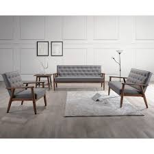 Wholesale Interiors Sorrento Baxton Studio Upholstered  Piece - Three piece living room set