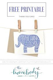 printable elephant thank you card kid birthdays and babies