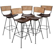 Comfortable Bar Stools Set Of 5 Arthur Umanoff Bar Stools At 1stdibs