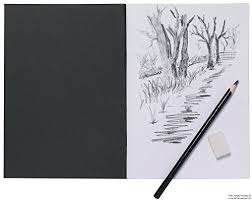 a5 artist sketch book white cartridge paper black card cover art