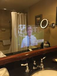 my hotel bathroom has a tv behind the mirror imgur