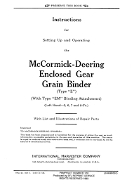 mccormick deering enclosed gear grain binder u2013 small farmer u0027s journal