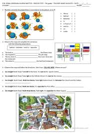 Preposition Practice Worksheets Directions And Prepositions Of Place Worksheet Free Esl