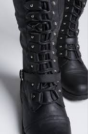 s lace up boots size 11 knee high low chunky heel lace up faux leather combat boots in