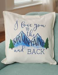 i love you to the mountains and back white cotton pillow