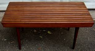 Slat Bench Mid Century 3 Foot Slat Bench In Lower Manhattan New York