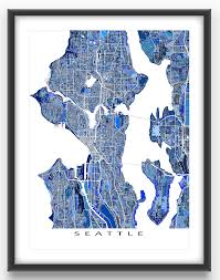 Usa Puzzle Map by Seattle Map Art Print Featuring The City Of Seattle Washington