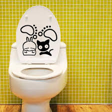 cute black white cat and their paw toilet decal sticker wc rabbit cute black white cat and their paw toilet decal sticker wc rabbit shit art decor poster penguin toilet paper decoration painting buy wall stickers