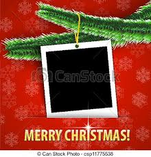 vectors of merry christmas greeting card with blank photo frame