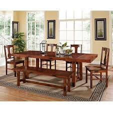 walker edison furniture company huntsman 6 piece dark oak dining