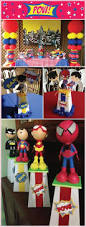 superhero centerpiece toppers 1 set by getcreativewithkay on etsy