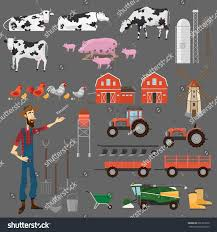 big farm house big farm set elements design farm stock vector 691223530