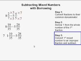 subtracting mixed numbers with borrowing youtube