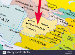 Pakistan On The Map Red Arrow Pointing Afghanistan On The Map Of Asia Continent Stock