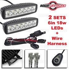 Atv Light Bar 2pcs 6in 18w Led Work Light Bar Fog Offroad Wire Harness Kit Atv