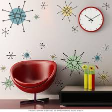 Decoration Star Wall Decals Home by Atomic Starburst 50s Style Wall Decals Sheet Large Removable