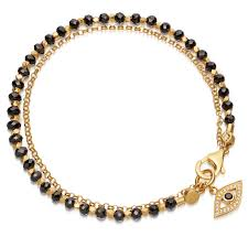 yellow bracelet images Black spinel evil eye biography bracelet yellow gold vermeil jpg