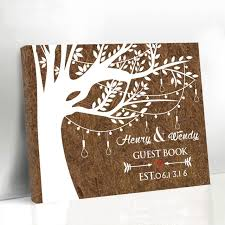 customized anniversary gifts customized woodgrain background wedding guestbook personalized