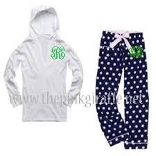 navy polka dot pajama set